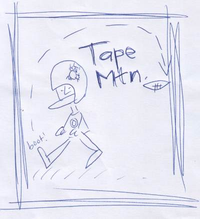 Tape Mountain backwards punt logo